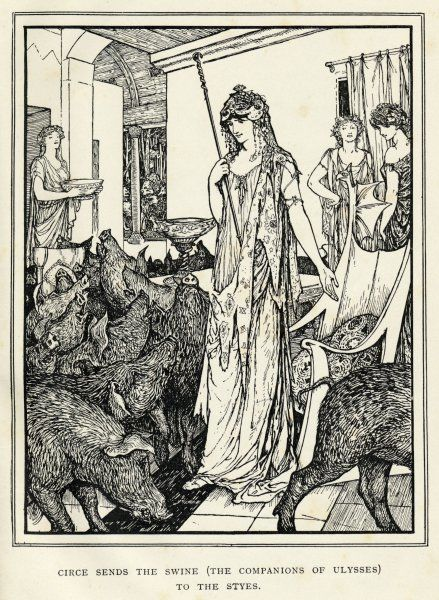 Circe the sorceress turns Odysseus' men into swine and sends them to the styes