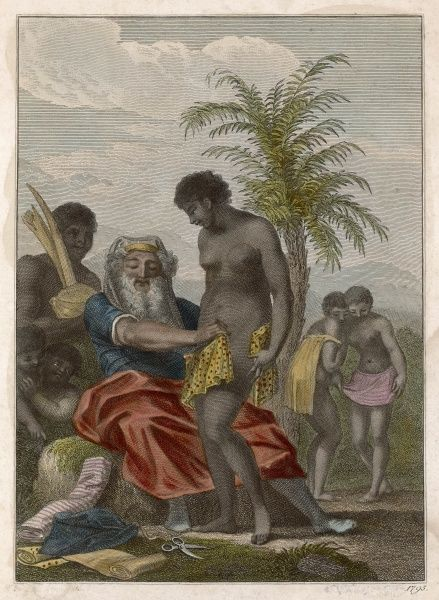 A young African tribesman is circumcised by an elder, an important element in his initiation : in the background another initiate proudly displays his mutilation