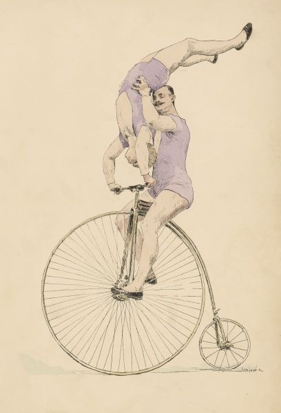In a fine display of balance, a gentleman rides a penny farthing while his assistant performs a handstand on the handlebars