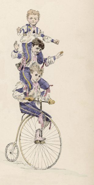 A female acrobat balances on the top of a penny farthing - she rests her knee in the saddle, although the rest of the bike is not in the picture