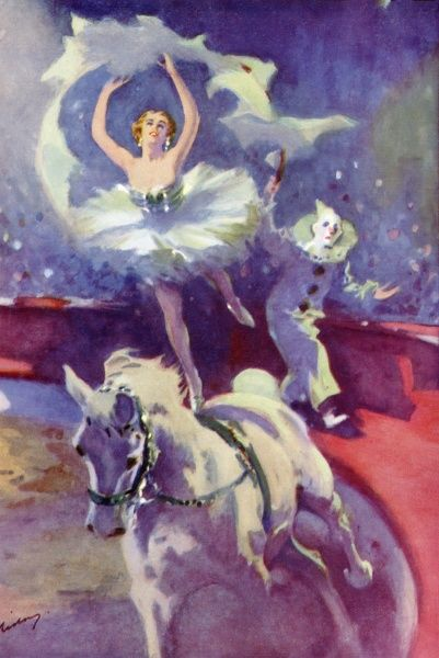 An equestian act at Bertram Mills circus. Dressed as a ballerina, a girl stands on the back of a horse while being pursued by a clown
