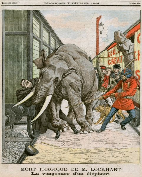 George Lockhart is crushed by a circus elephant at Walthamstow. The elephant escaped from the train which was transporting him to the next circus destination