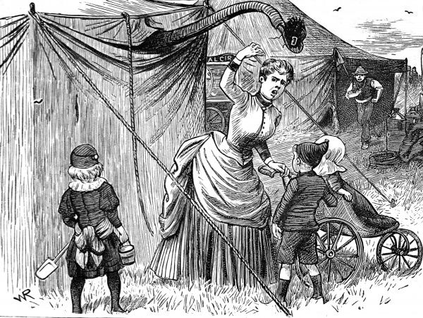 Engraving showing an elephant using its trunk to borrow a woman's hat, during a circus' visit to an English country town, c.1886