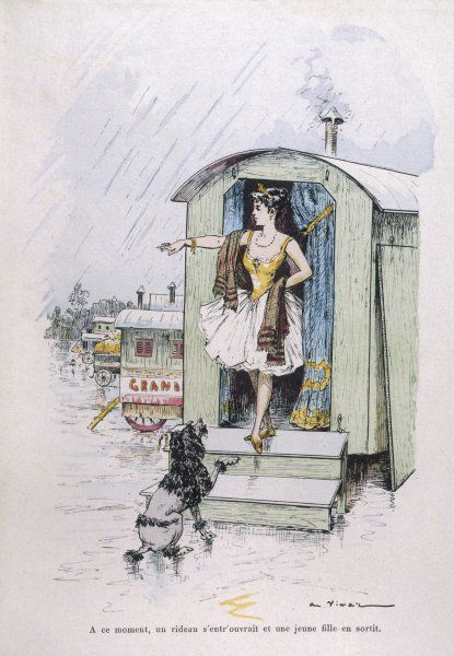 Performing poodle with a circus is banished from a caravan in the rain