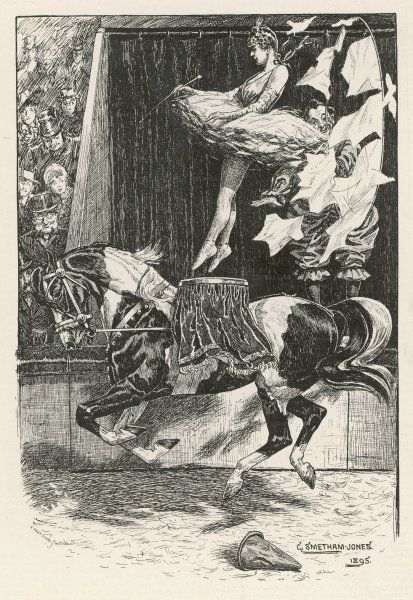 Piebald (black and white) Circus horse carrying an equestrienne who jumps through a paper-filled hoop held up by a clown