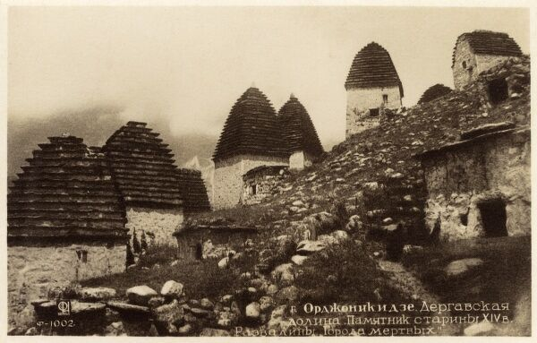 The large necropolis ('City of the Dead') near the Ossetian settlement/village of Dargavs in the Caucasus region of North Ossetia (The Russian Repubic of North Ossetia) (14th century). Date: circa 1910s