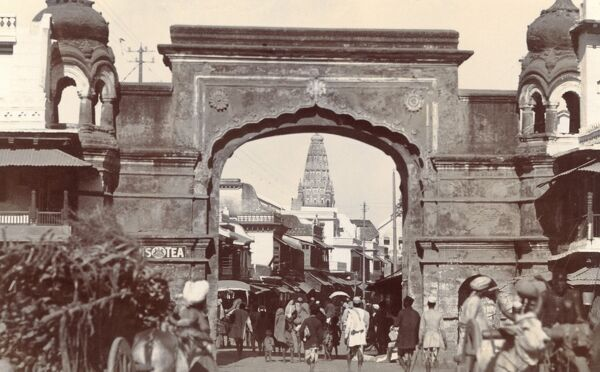 The City Gates, Jabalpur, a city in the state of Madhya Pradesh in India. Date: circa 1920