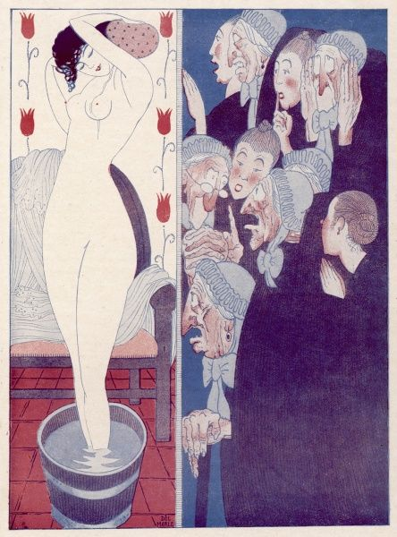 A group of mostly elderly villagers are shocked at a young Parisian woman's bathing methods