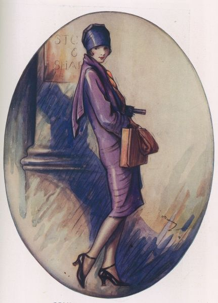 Colour illustration by Lewis Baumer showing a fashionable flapper girl out shopping