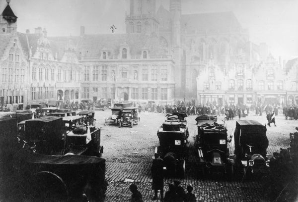 Scene in the city square during the retreat from Antwerp, Belgium, during the First World War. Date: 1914