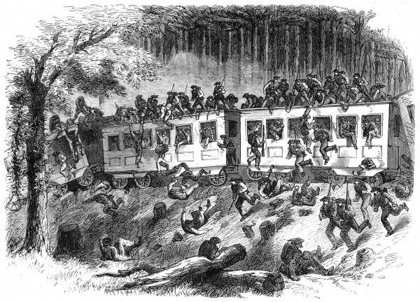 Hundreds of Confederate soldiers leap from the train, as it derails in the Mississippi forest