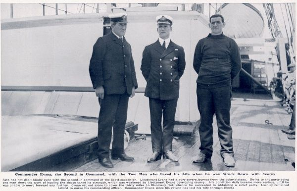 Commander Evans, the Second in Command of the British Antarctic expedition of Captain Scott, pictured with the two men who saved his life when he was struck down with scurvy
