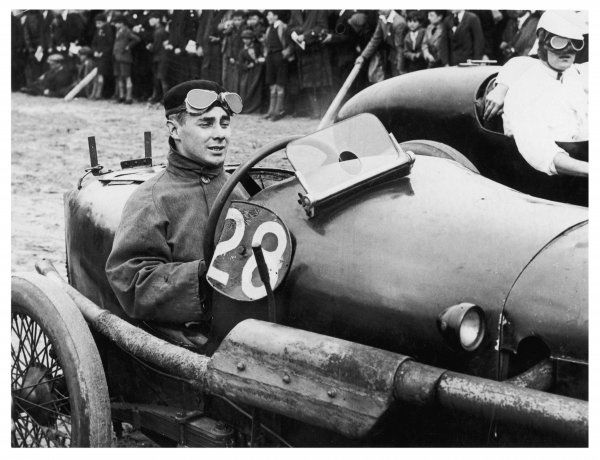 Racing champion C.J.P. Dodson, photographed in a his (1924) Alvis car at Southport Sand races. In 1929 he was to win the Isle of Man Senior T.T. on his Sunbeam motorcycle (72mph)