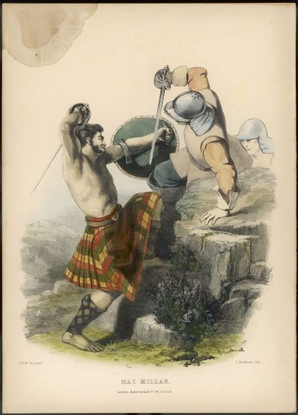 Clan MAC MILLAN - a barefoot and barechested warrior defends himself against a pair of Cromwell's 'ironsides' - for his clan supported the Stuarts