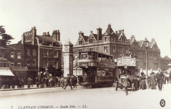 A tram and a motor-bus on the south side of Clapham Common. Date: circa 1905