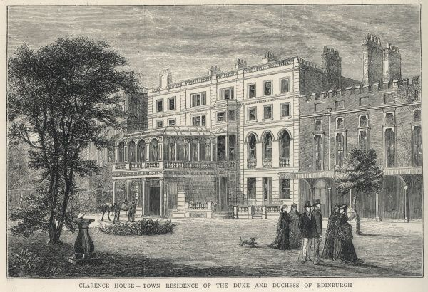 Exterior of Clarence House, London, then the town residence of the Duke and Duchess of Edinburgh