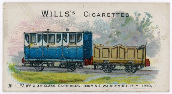 Rolling stock on the Bodmin and Wadebridge Railway, Cornwall: first, second and third class carriages. Date: 1840
