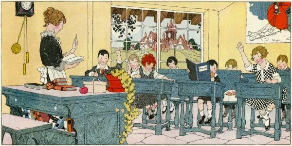 Classroom scene, showing children in a geography lesson. A picture of Cinderella's coach (a pumpkin pulled by mice) is on the wall at the back