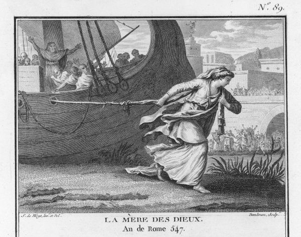The Roman matron Claudia Quinta clears her name by dragging a ship bearing a statue of the Cult of the Great Mother (Magna Mater, Cult of Cybele) into Rome, after first praying to the gods for help
