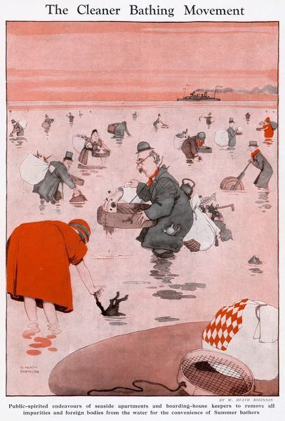 Public spirited endeavours of owners of seaside appartments and boarding house keepers to remove all impurities and foreign bodies from the water for the convenience of summer bathers. Please note: Credit must appear as Courtesy of the Estate of Mrs J