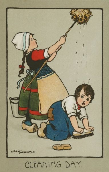 Cleaning Day, by Ethel Parkinson. A little Dutch girl wields a mop, while a little boy kneels down and scrubs the floor