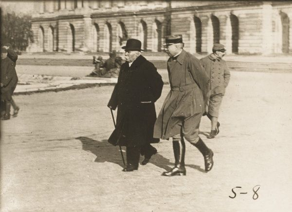 GEORGES CLEMENCEAU French politician walking in Versailles, France