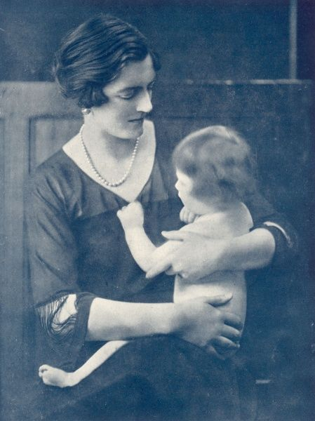 Portrait of Clementine Churchill, nee Hozier, wife of Sir Winston Churchill, pictured with the couple's third daughter, Marigold who tragically died from septacaemia in 1921