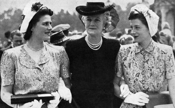 Clementine Churchill, wife of Sir Winston Churchill, pictured with her two daughters, Mrs Oliver (Sarah Churchill, on the right) and Mary Churchill at Buckingham Palace after receiving the Insignia of the Dame Grand Cross of the Civil Division
