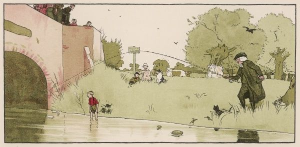 A clergyman fishes from the riverbank, watched by the local children