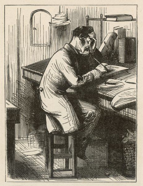 A clerk at his desk, seated on a stool