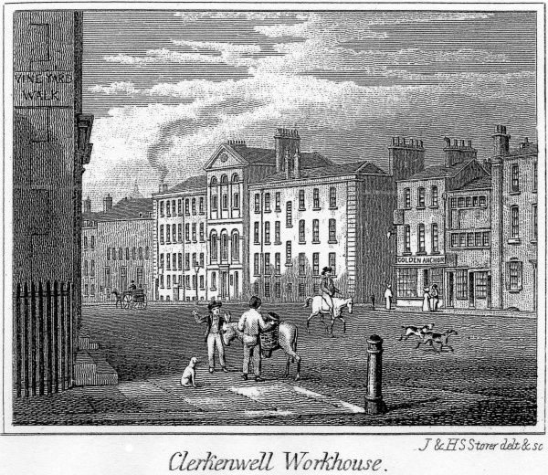 The Clerkenwell parish workhouse on Farringdon Road (formerly Coppice Row), Central London, erected in 1727
