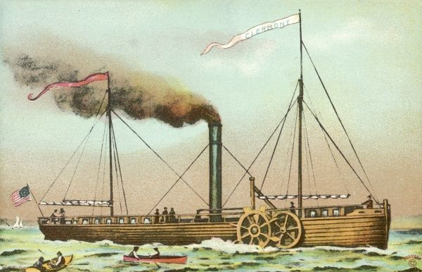 The Clermont Paddlesteamer invented by Robert Fulton and built in 1807. It could reach a speed of 5 miles per hour