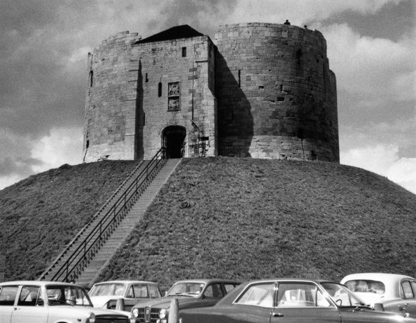 Clifford's Tower, York Castle, Yorkshire, England, a remarkable two-storey quatrefoil keep on a stone motte and bailey fortress. Date: 13th century