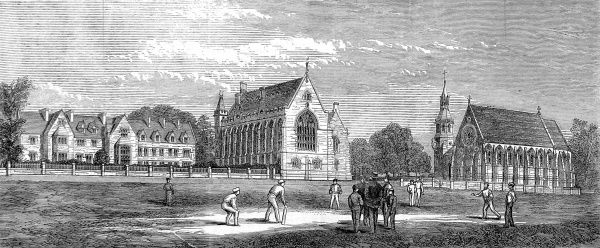 Engraving showing a game of cricket in the grounds of Clifton College, near Bristol, with the Guthrie Memorial Chapel on right, 1867