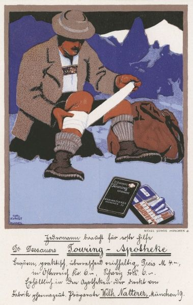 The prudent climber - and Germans are ALWAYS prudent - carries a first-aid kit with him in case of accident, for accidents may befall anyone, even a German