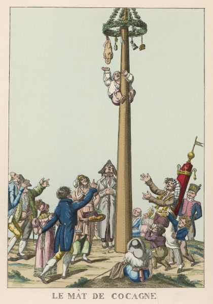 'Mat de Cocagne' (French greasy pole game)