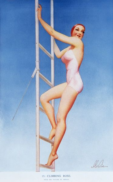 Voluptuous pin up girl by Merlin Enabnit (1903-1979) clad in a pink swimming costume and bathing cap climbing a ladder
