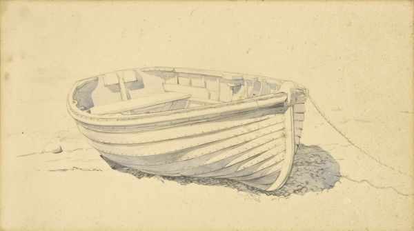 A watercolour sketch of a clinker rowing boat by Raymond Sheppard