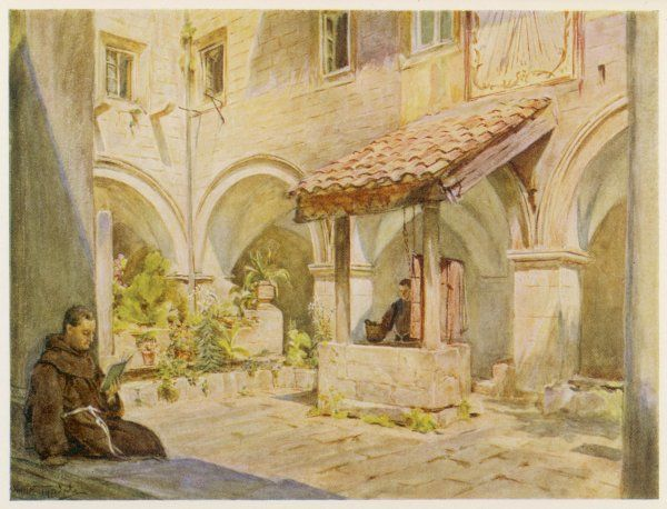 One monk reads while another draws water from the well in the cloisters of the monastery of San Francesco at Ragusa (now Dubrovnik) Croatia