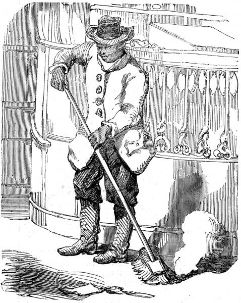 Engraving showing a young black man sweeping up after the Wall Street market had closed for the end of the day, 1856