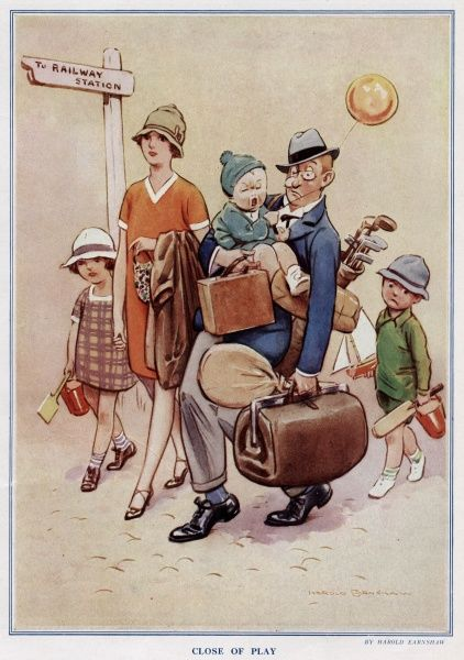 Family going to the railway station after a tiring holiday. Date: 1927