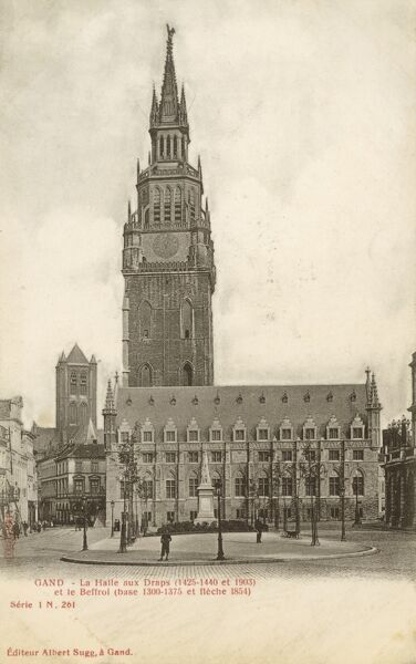 The Cloth Hall and Belfry at Ghent, Belgium. The rectangular hall adjoining the belfry was built to headquarter the affairs of the cloth trade that made the city rich during the Middle Ages. Date: circa 1910s