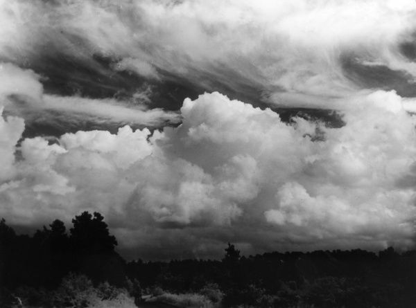 A dramatic cloud formation over Wisley Common, Surrey, England. Date: 1940s