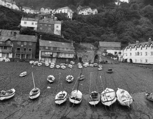 The harbour at Clovelly, Devon, England. Date: late 1960s