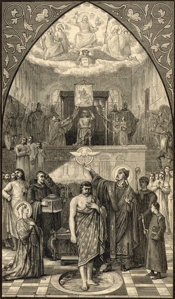 Clovis, Merovingian king of the Franks, converts to Christianity after defeating the Alemanni at TOLBIAC, as he promised his wife Clothilde he would do
