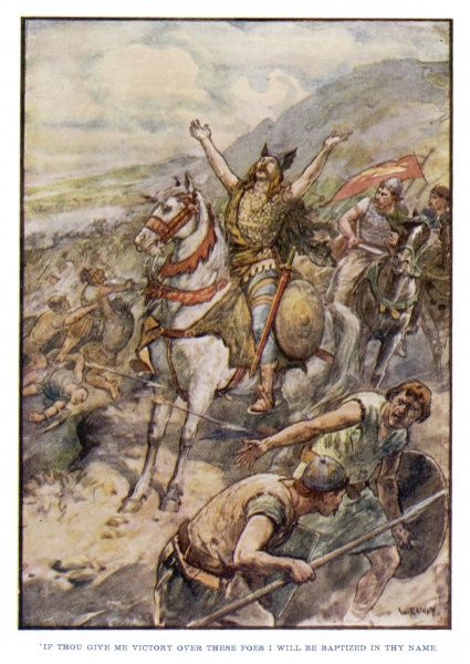 Clovis, pagan king of the Franks, invokes God's help in defeating the invading Germans. He converts to christianity after victory