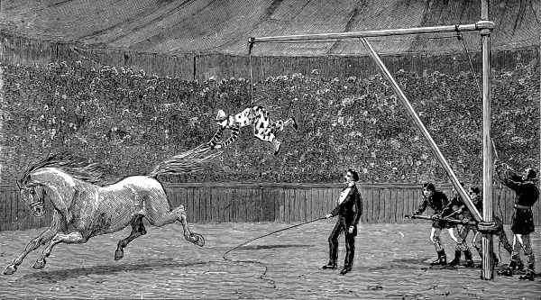 Engraving showing a clown being taught either to ride horses bare-backed or to fly at a circus, c.1888