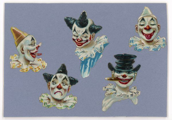A selection of clown's faces with various expressions
