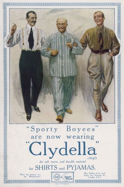 "Three ""sporty boyees"" stroll together enjoying the fact that their shirts and pyjamas are made from soft, warm and durable Clydella material"