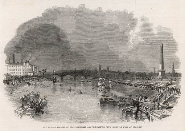 The annual regetta of the Clydesdale Amateur Rowing Club, held at Glasgow in 1862. Nelson's monument can be seen to the right of the river